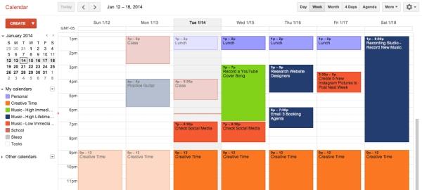 Example Musician's Calendar